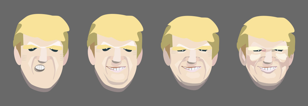 Versionen chronologischer Art zum Portrait Donald Trump.